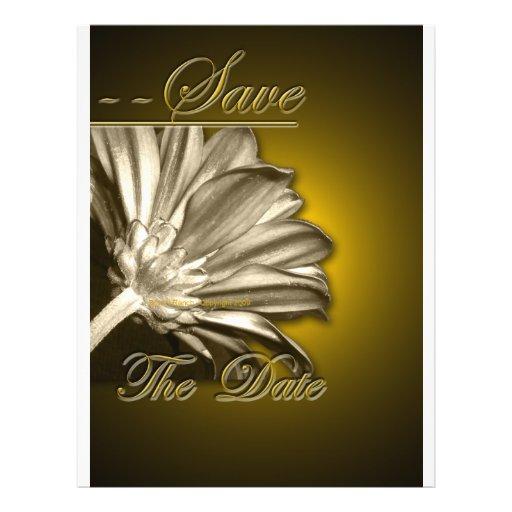 Elegant Gold Floral  Save the Date Custom Flyer