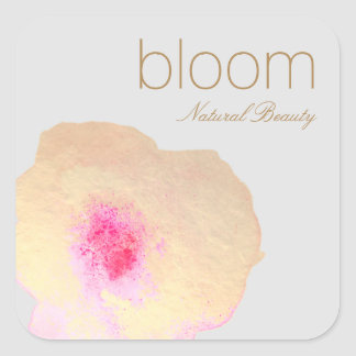 Elegant Gold Floral Watercolor Flower Square Sticker