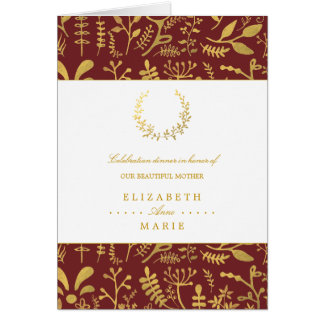 Elegant Gold Floral Wreath Mother's Day Dinner Card