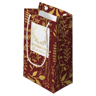 Elegant Gold Floral Wreath Mother's Day Small Gift Bag