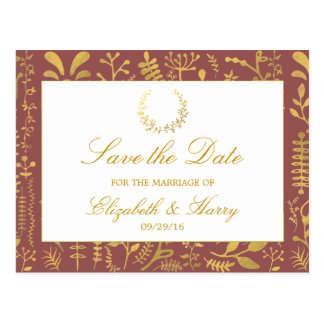 Elegant Gold Floral Wreath Wedding Save The Date Postcard