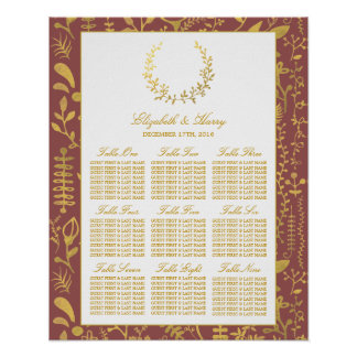 Elegant Gold Floral Wreath Wedding Seating Chart Poster