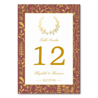 Elegant Gold Floral Wreath Wedding Table Number