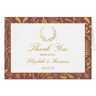 Elegant Gold Floral Wreath Wedding Thank You Card