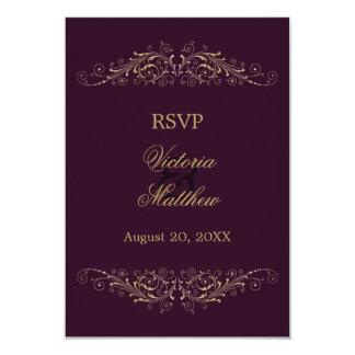 "Elegant Gold Flourish Damask Eggplant RSVP Cards 3.5"" X 5"" Invitation Card"