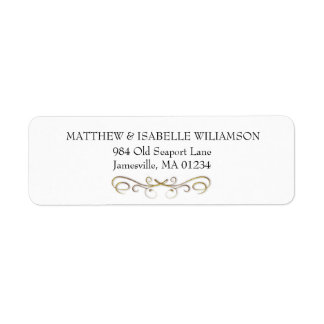 Elegant Gold Flourish Return Address Label