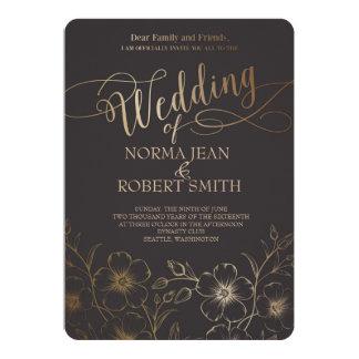 Elegant Gold Flower Wedding Invitation