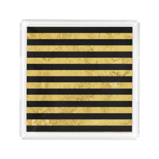 Elegant Gold Foil and Black Stripe Pattern Acrylic Tray