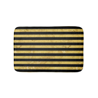 Elegant Gold Foil and Black Stripe Pattern Bath Mat