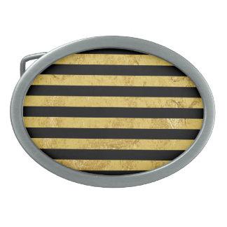 Elegant Gold Foil and Black Stripe Pattern Belt Buckle