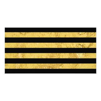 Elegant Gold Foil and Black Stripe Pattern Card