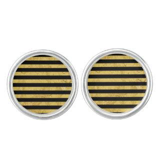 Elegant Gold Foil and Black Stripe Pattern Cuff Links