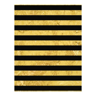 Elegant Gold Foil and Black Stripe Pattern Customized Letterhead