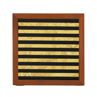 Elegant Gold Foil and Black Stripe Pattern Desk Organizer