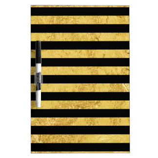 Elegant Gold Foil and Black Stripe Pattern Dry Erase Board