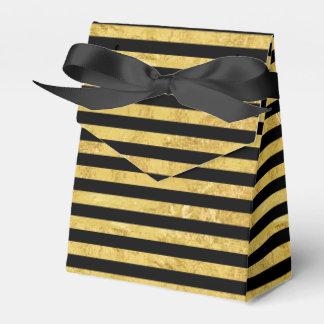 Elegant Gold Foil and Black Stripe Pattern Favor Box