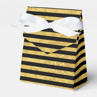 Elegant Gold Foil and Black Stripe Pattern Favor Boxes