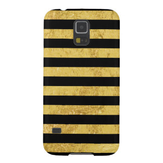 Elegant Gold Foil and Black Stripe Pattern Galaxy S5 Case