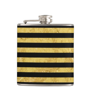 Elegant Gold Foil and Black Stripe Pattern Hip Flask