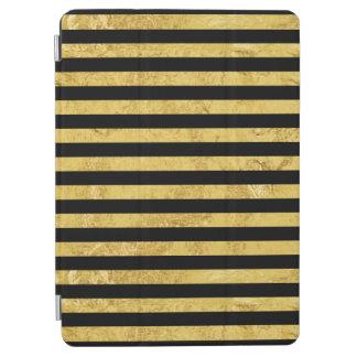 Elegant Gold Foil and Black Stripe Pattern iPad Air Cover