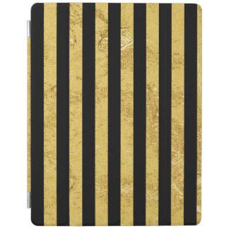Elegant Gold Foil and Black Stripe Pattern iPad Cover