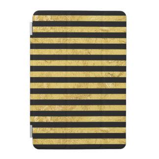 Elegant Gold Foil and Black Stripe Pattern iPad Mini Cover