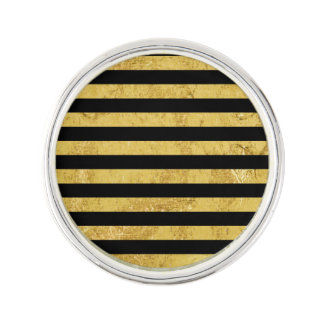Elegant Gold Foil and Black Stripe Pattern Lapel Pin