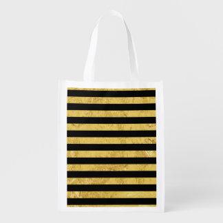 Elegant Gold Foil and Black Stripe Pattern Market Totes