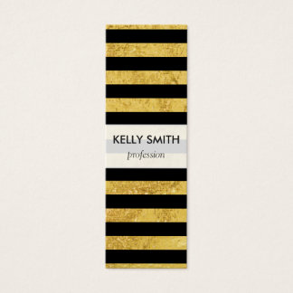 Elegant Gold Foil and Black Stripe Pattern Mini Business Card