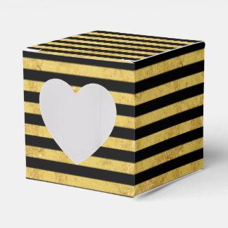 Elegant Gold Foil and Black Stripe Pattern Party Favor Boxes