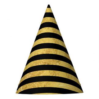 Elegant Gold Foil and Black Stripe Pattern Party Hat