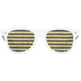 Elegant Gold Foil and Black Stripe Pattern Party Sunglasses