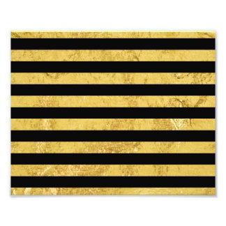 Elegant Gold Foil and Black Stripe Pattern Photographic Print