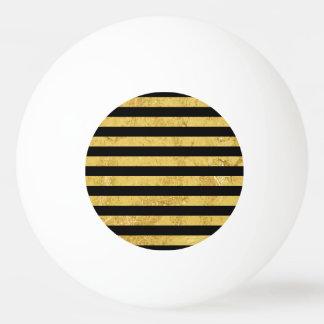 Elegant Gold Foil and Black Stripe Pattern Ping Pong Ball