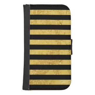 Elegant Gold Foil and Black Stripe Pattern Samsung S4 Wallet Case