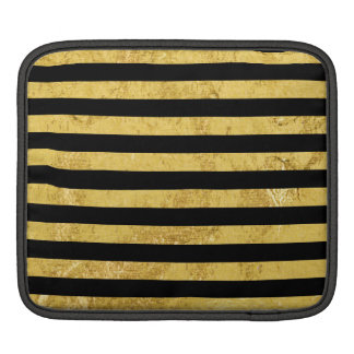 Elegant Gold Foil and Black Stripe Pattern Sleeves For iPads