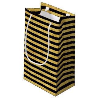 Elegant Gold Foil and Black Stripe Pattern Small Gift Bag