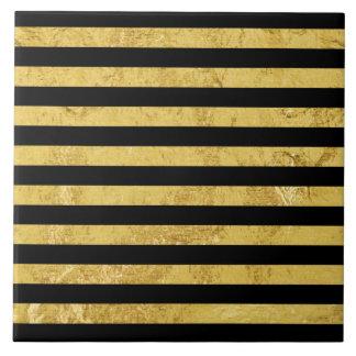 Elegant Gold Foil and Black Stripe Pattern Tiles