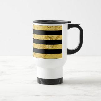 Elegant Gold Foil and Black Stripe Pattern Travel Mug