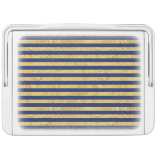 Elegant Gold Foil and Blue Stripe Pattern