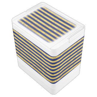 Elegant Gold Foil and Blue Stripe Pattern