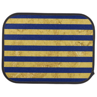 Elegant Gold Foil and Blue Stripe Pattern Auto Mat