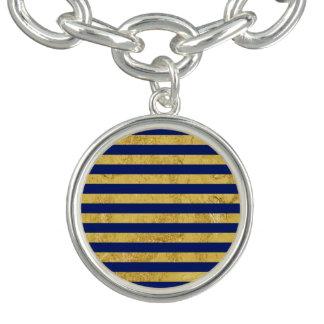 Elegant Gold Foil and Blue Stripe Pattern Bracelets