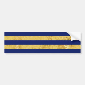 Elegant Gold Foil and Blue Stripe Pattern Bumper Sticker