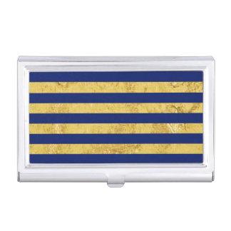 Elegant Gold Foil and Blue Stripe Pattern Business Card Holder