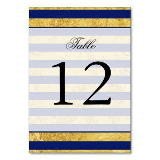 Elegant Gold Foil and Blue Stripe Pattern Card