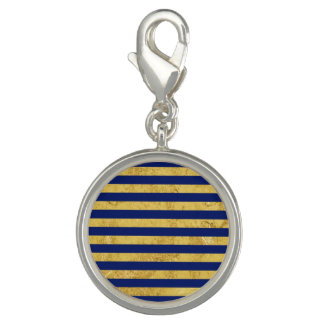 Elegant Gold Foil and Blue Stripe Pattern Charms