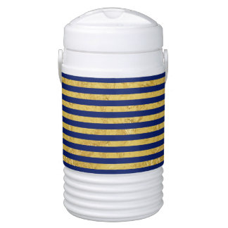 Elegant Gold Foil and Blue Stripe Pattern Cooler