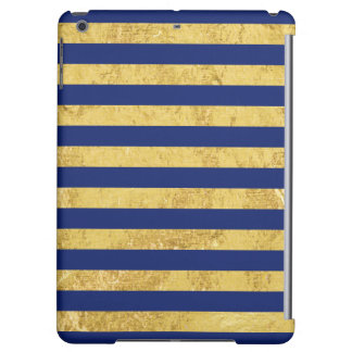 Elegant Gold Foil and Blue Stripe Pattern Cover For iPad Air