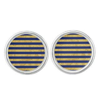 Elegant Gold Foil and Blue Stripe Pattern Cuff Links